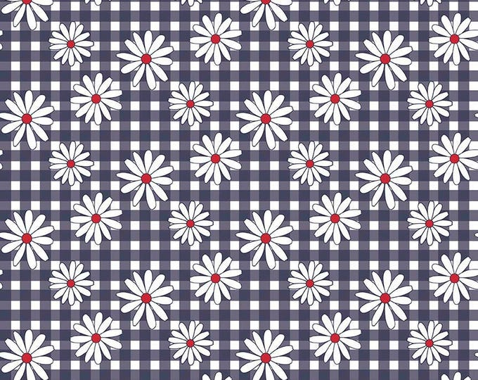 "Gingham  Girls, By Amy Smart  Daisy Navy C5901-Navy - 21"" remnant"