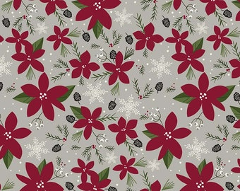 Winterberry - Main Gray - My Mind's Eye - Riley Blake Designs - Christmas Fabric - Cut Options Available (C8440 GRAY)