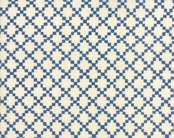 Freya Friends Cornish Blue by Janet Clare for Moda Fabrics (1446 11) Blue Print Fabric - Geometric Print- Cotton Quilting Fabric