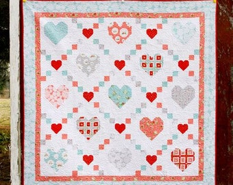 Hearts & Kisses Quilt Kit Featuring Vintage Keepsakes by Beverly McCullough (Flamingo Toes)
