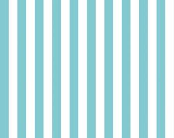 """Aqua Half Inch Stripe by Riley Blake Designs (C530 20) - 28"""" remnant"""