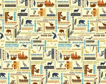 National Parks Cream Words Yardage by Riley Blake Designs (C8784-CREAM) - National Parks Fabric - Cut Options Available