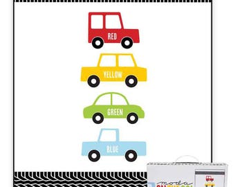 On the Go Quilt Kit SALE  (KITONTHEGO) Moda Quilt Kit - Car Quilt Kit - Baby Quilt - Cars Quilt - Cotton Quilting Fabric
