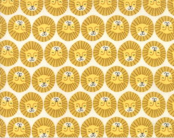 Safari Life Cream Lions Head by Stacy Iest Hsu for Moda Fabrics  (20646 11) - Animal Fabric - Cut Options Available