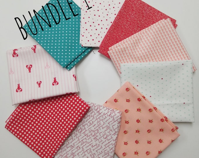 Stitches FQ Bundle - (9) fat quarters in reds and pinks