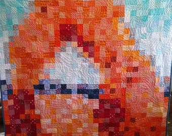 "Delicate Arch Quilt Kit - Includes all fabric for quilt top, binding and Pattern! 77.5"" x 85"" Finished - Pixelated Arches Quilt!"