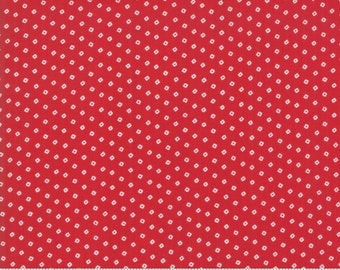 My Redwork Garden Red Cobblestone Yardage by Bunny Hill Designs for Moda Fabrics (2957 11) - Red and White Fabric