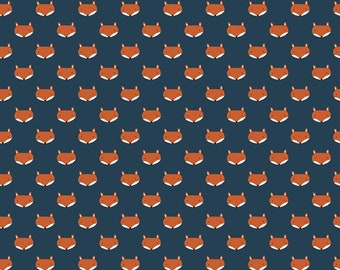 In The Forest Navy Fox Heads Yardage by Riley Blake Designs (C8953-NAVY) - Cut Options Available