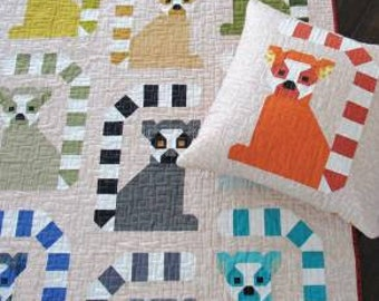 Lana Lemur Quilt Pattern - Elizabeth Hartman (EH050) - Lemur Quilt Pattern - Pillow pattern, Small Quilt, and Large Quilt Patterns included