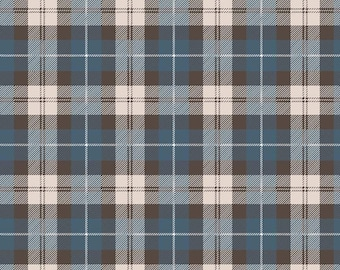Flannel Plaid Blue/Brown by Riley Blake Designs  - Plaid Flannel Fabric  - Cut Options Available - (F7775-BLUE-BROWN)