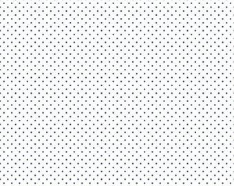 Swiss Dot On White Denim  (C660-Denim) - Blue Swiss Dot Fabric - Basic Fabric - White Print with Denim Swiss Dots