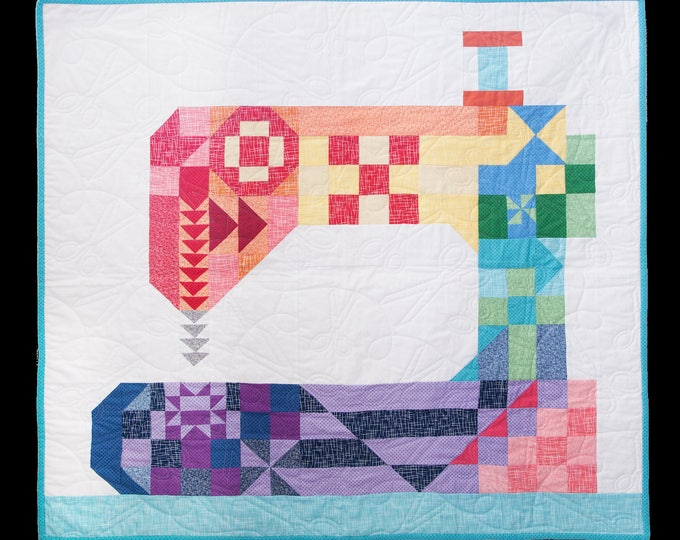 Featured listing image: Stitch Happens Quilt Kit Featuring Riley Blake Designs Basics Pattern by Kelli Fannin Quilt Design