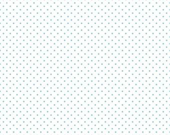 Riley Blake Designs, Swiss Dots Aqua on White (C660 20)