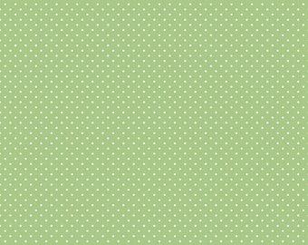 White Swiss Dot On Green  (C670 Green)