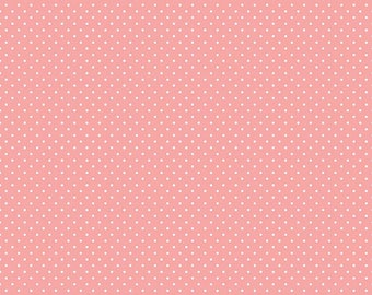 White Swiss Dot On Coral (C670 Coral)