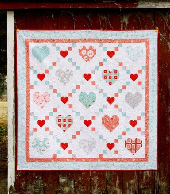 Hearts & Kisses Quilt Kit Featuring Vintage Keepsakes by Beverly McCullough (Flamingo Toes) - FREE SHIPPING