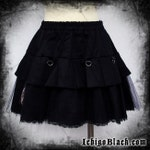 Black pleated skirt with chain and organza ruffle visual kei goth adult small to plus size