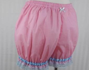 Pink plain mini sweet lolita fairy kei bloomers shorts adult woman size small-plus size
