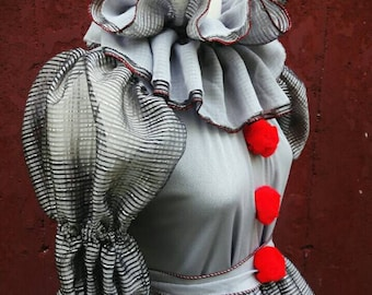 VK Freakshow Babydoll gray clown Halloween costume dress small to plus size