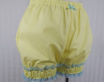 Pastel yellow mini sweet lolita fairy kei bloomers shorts with wide cuff adult woman size small-plus size