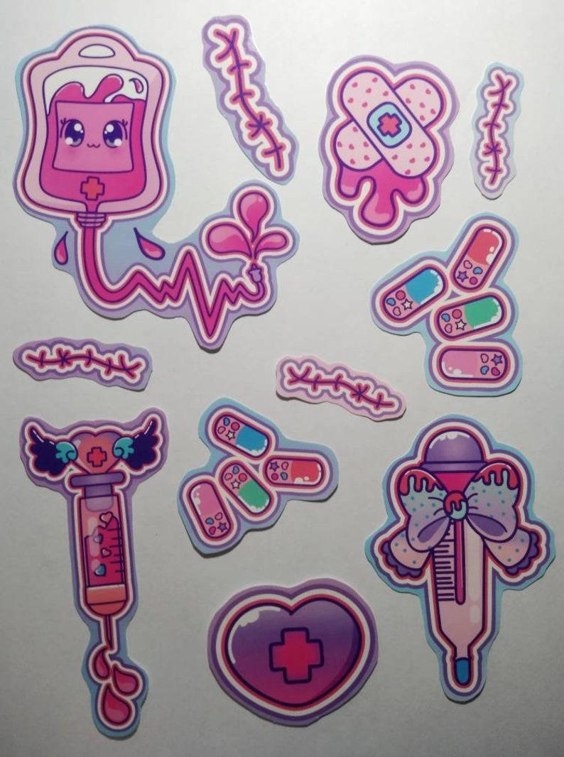 Decora kei menhera Yami kawaii yume hand cut glossy sticker 11 image 0