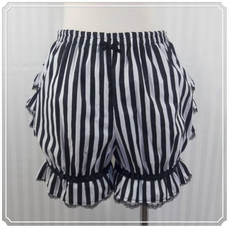 Black and white stripe fancy ruffle short bloomers steampunk image 0