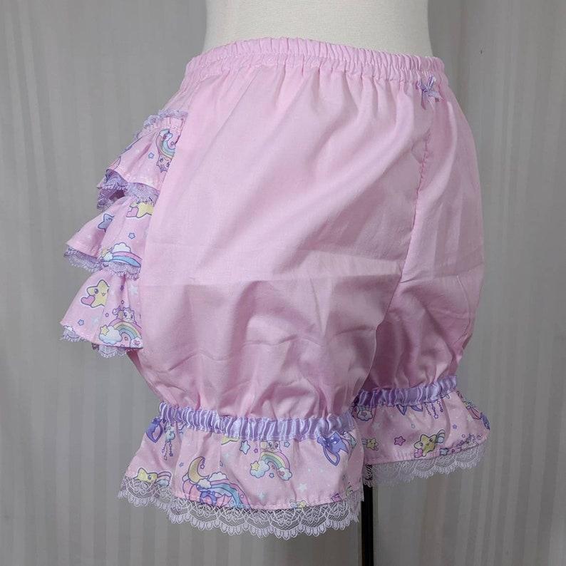 kawaii fairy decora pop kei small to plus size adult women Cute bat melty moon fancy ruffle short mini bloomers-
