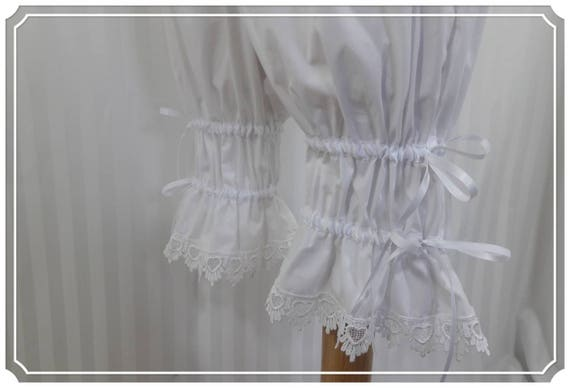 White adjustable above the knee bloomers steampunk lolita adult small to plus size