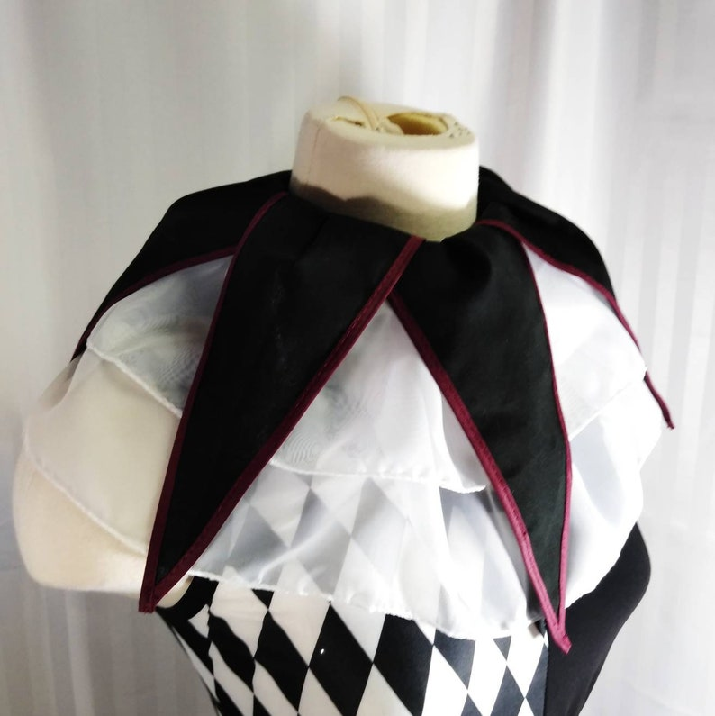 Black and White jester clown neck ruffle only image 0
