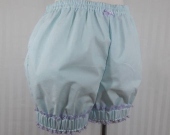 Light blue mini sweet lolita fairy kei bloomers shorts with wide cuff adult woman size small-plus size