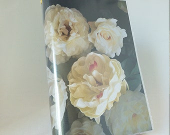 Paperback Book Cover - Reusable Protective Adjustable - Large Trade Size -  White Rose Design