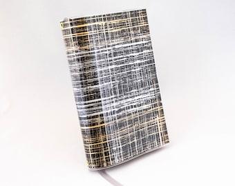 Paperback Book Cover - Black Silver Gold Metallic Brushstroke Design - Small Size