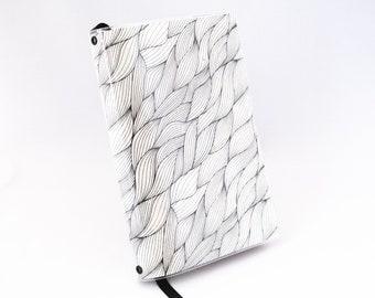 Paperback Book Cover - Black Wave Leaf on Natural - Small Mass Market Size