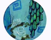 Lot of 13 painted Vinyl record, painting, roses, yellow, chinoiserie, bohemian art, ooak