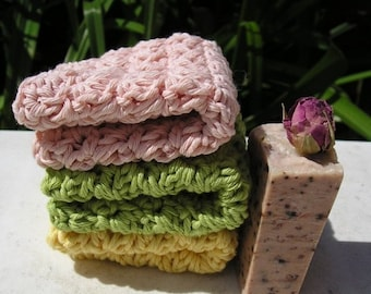 Set of 3 'Fresh' Facecloths with Handmade Soap
