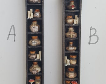 1:12 th scale  shelf with  apothecary potion jars