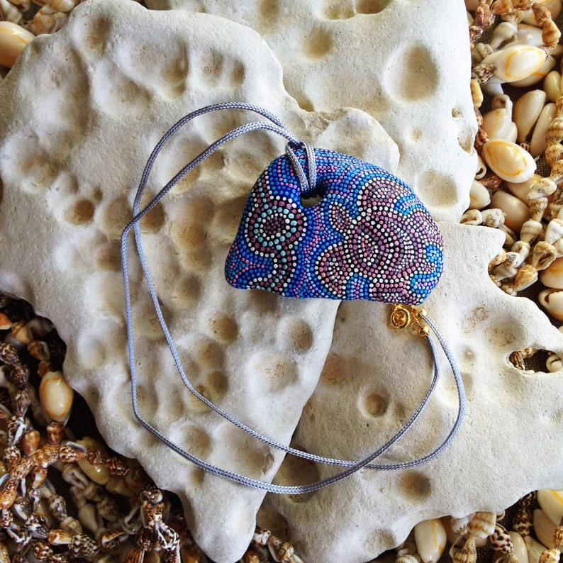 Sea Turtle Dot painted hag stone Dot painted rock Beach stone. Hand painted holey stone Dot painted blue pink pendant