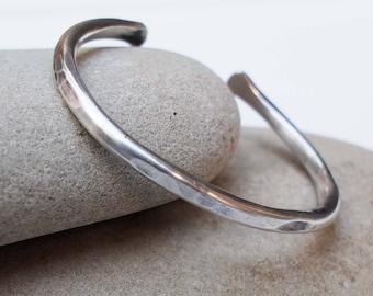 Chunky Silver Bracelet Stacking Open Cuff Heavy Bracelet Half Beaded Bracelet Sterling Silver Cuff Bracelet