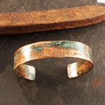 Men's Copper Roman Numeral Date Bracelet with Verdigris Patina, 7th or 22nd Anniversary Gift for Him