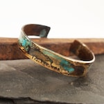 Men's Bronze Roman Numeral Date Bracelet with Verdigris Patina, 8th or 19th Anniversary Gift for Him