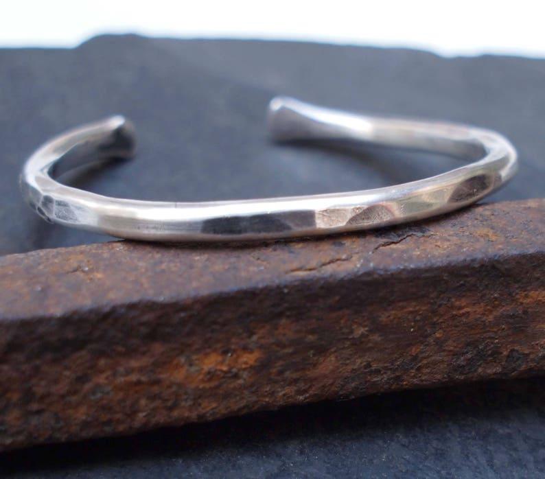 Kid/'s Silver Cuff Rustic Silver Bracelet Hammered Cuff Children/'s Jewelry