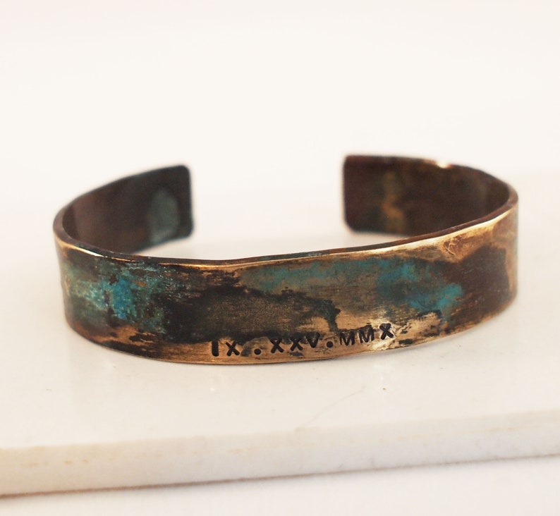 8th Anniversary Gift Ladies Bronze Roman Numeral Bracelet with Verdigris Patina