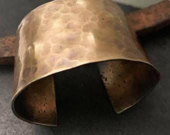 Wide Bronze Cuff with Dark Patina, Bronze Anniversary Gift, 8th or 19th Anniversary Gift