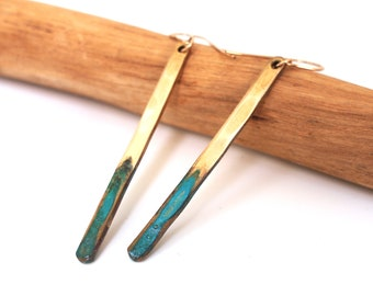 Bronze Earrings with Verdigris Patina