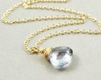 Gray Quartz Necklace, Stone Pendant Necklace, Neutral Necklace