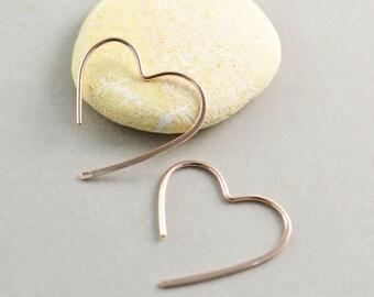 Rose Gold Heart Hoops, Medium Heart Earrings, Valentine, Love