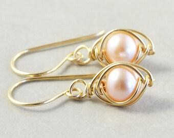 Pink Pearl Earrings, Dangle Earrings, June Birthstone, Bridesmaid Gift
