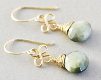 Green Dangle Earrings, Green Stone Earrings, Sage Green Drop Earrings