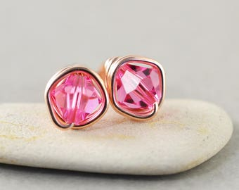 Pink Crystal Studs, Bicone Crystal, Pink Posts, Rose Gold, Bridesmaid Gift, Crystal Earrings
