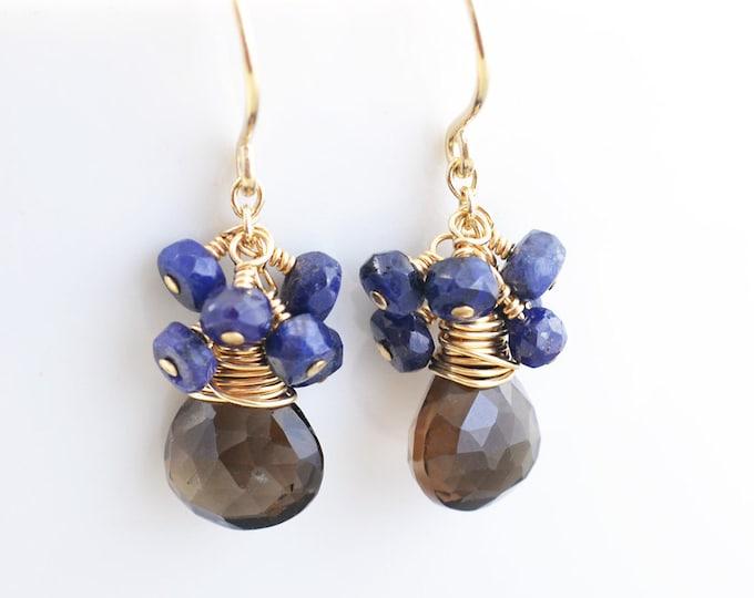 Smoky Quartz Dangle Earrings, Sapphire Cluster Earrings, September Birthstone Earrings